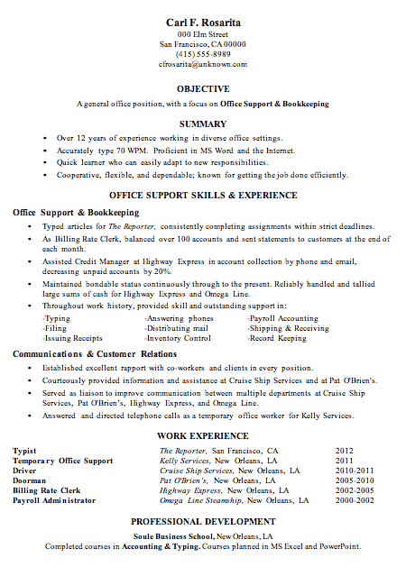 a resume sample office support and bookkeeping in the functional resume format note this sample resume has short term and temp jobs in the work history