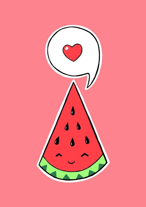 how to draw a kawaii watermelon