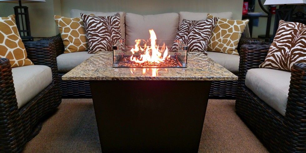 """Made in the USA Firetainment Inc. designs and creates unique gas fire pit tables for home and commercial outdoor patio, deck, and backyard spaces. Firetainment's line of copper and granite fire pit tables are the only market products that combine features of an outdoor dining table, hibachi grill, and fire pit all in one piece of outdoor furniture. Discover the power of """"Firetaining"""" as our centers will undoubtedly become the heart and soul of your home."""