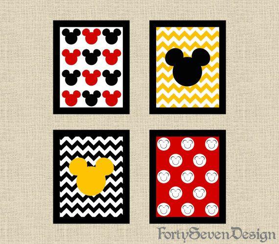 Set Of 4 Mickey Mouse Black White Red Yellow Chevron Printable