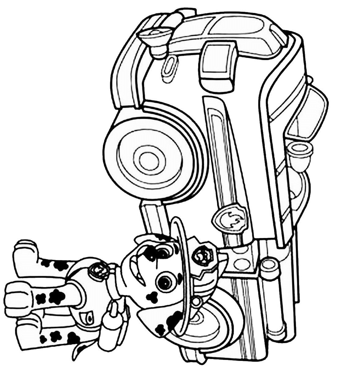 Coloring pages of chase from paw patrol - Marshall With His Firetruck Coloring Page Paw Patrol