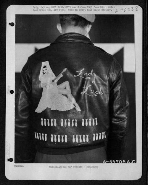 """Lady Luck"" 401st Bomb Group Bomber Jacket, June 1945 #WW2 #History #USAAF peerintothepast"