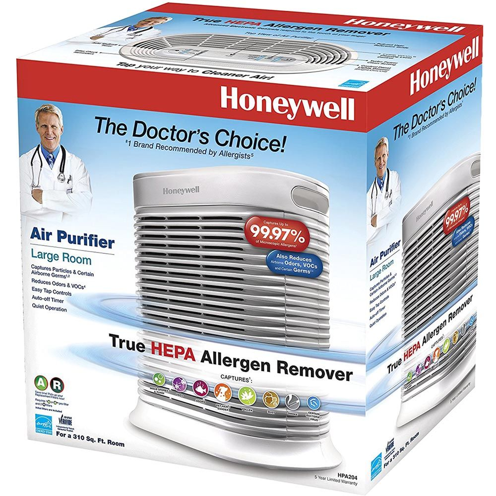 Honeywell True Hepa Large Room Air Purifier With Allergen Remover White Hpa204 In 2020 With Images Air Purifier Honeywell Air Purifier Hepa