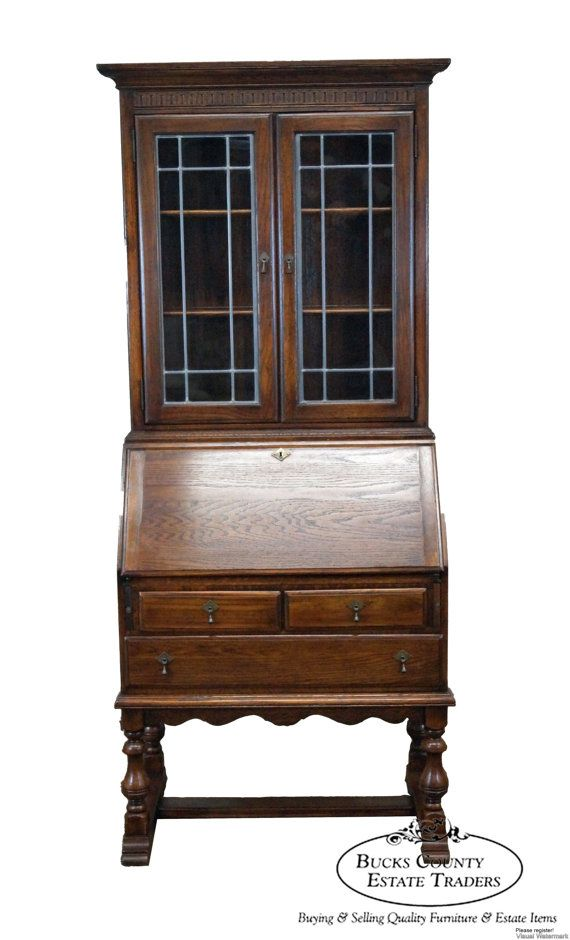 Ethan Allen Royal Charter Oak Secretary Desk By Bucksestatetraders