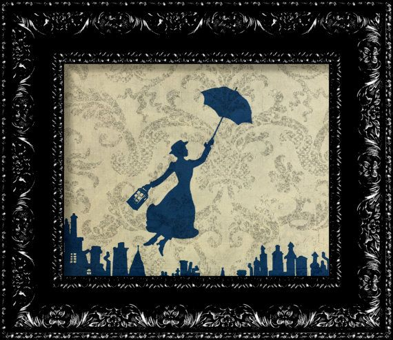 Mary Poppins And The Tardis - Vintage Retro Geekery Inspired - Collage Art Print -  8x10 Art Print Poster. $10.00, via Etsy.