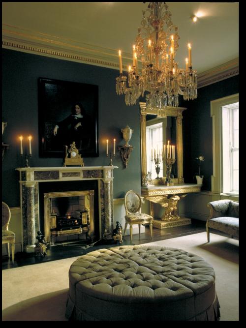 Regency Era Drawing Room: Regency Decor: Tufted Sectional Ottoman, Crystal