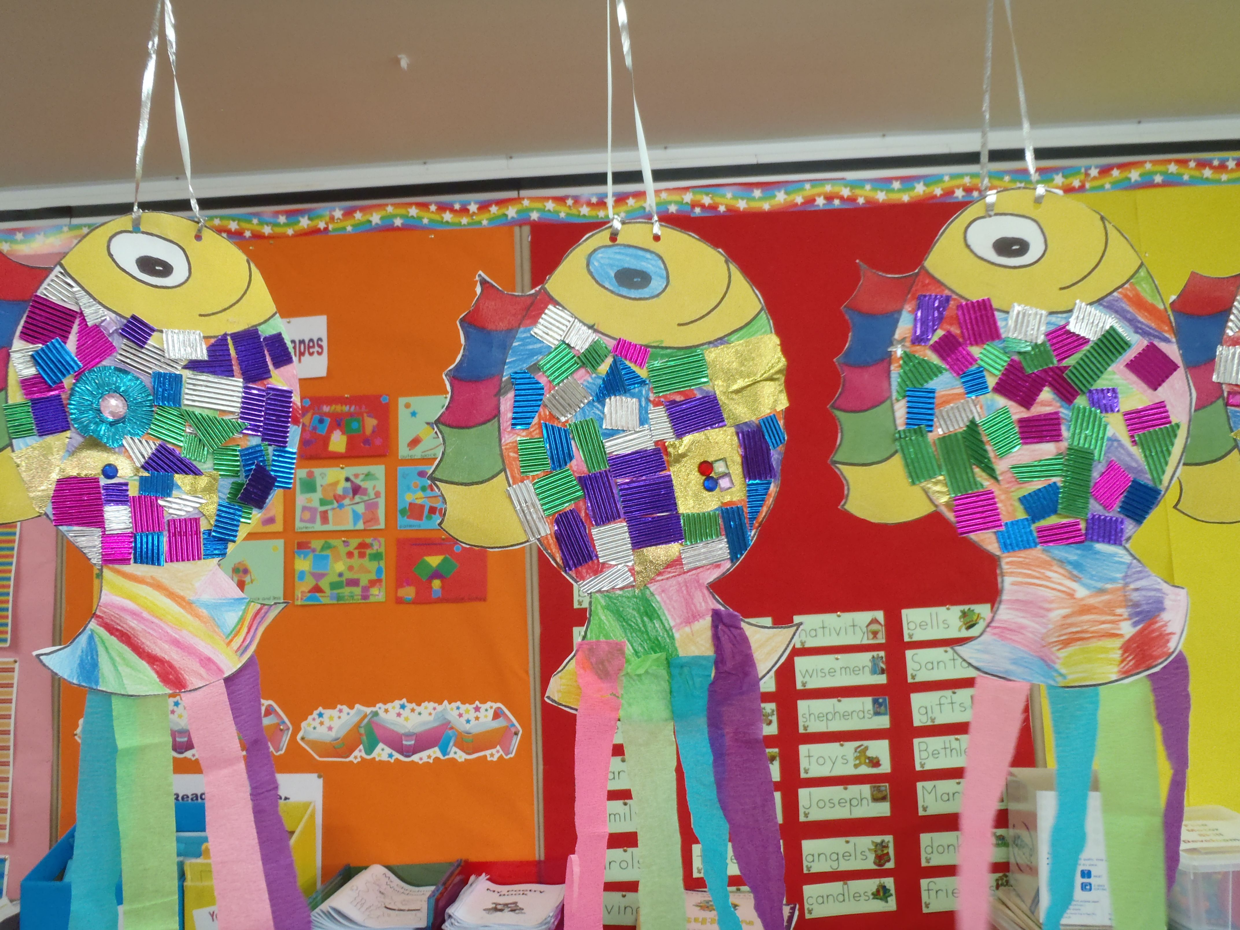 We Made These Fish Collages In Kindergarten After Reading