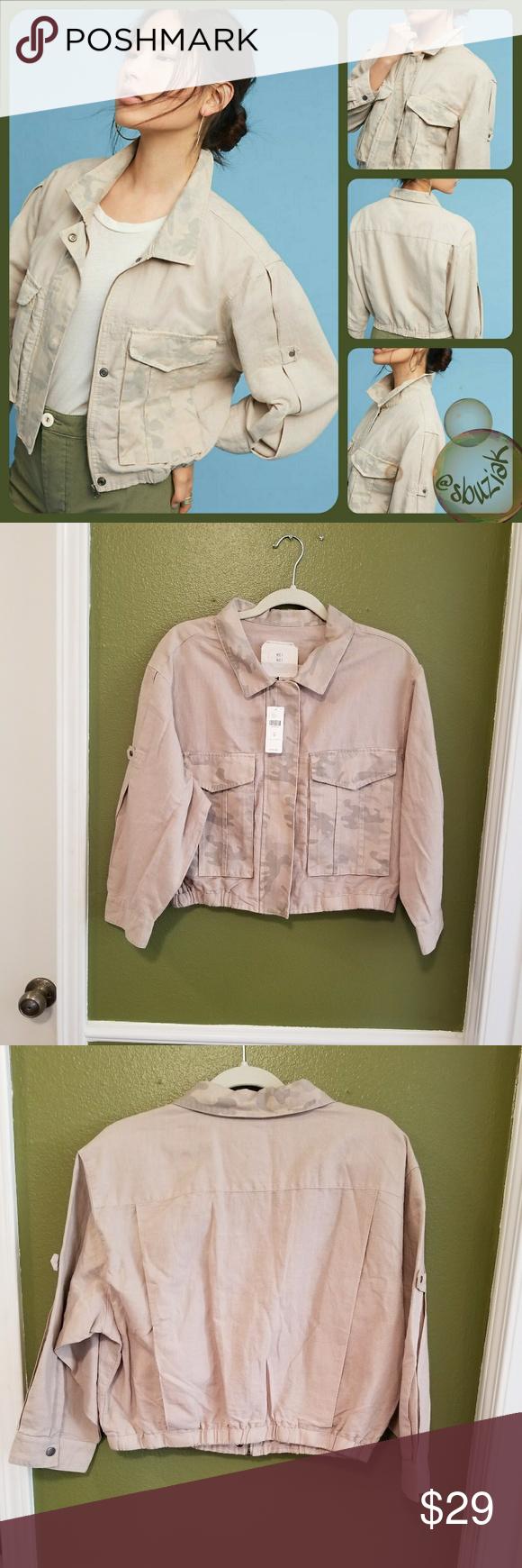 Anthropologie cropped camo jacket nwt pinterest