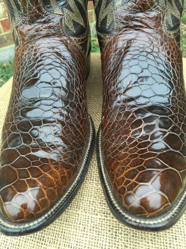 Rare Vintage Justin Sea Alligator Crocodile Cowboy Western