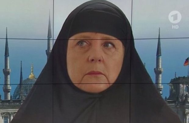 German TV station ARD has come under fire after airing a mocked-up image of Chancellor Angela Merkel wearing Islamic headscarf. ARD has