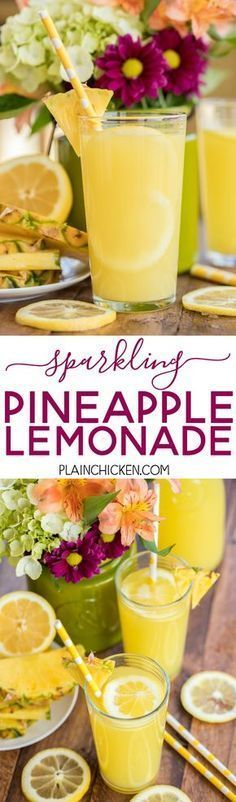 Sparkling Pineapple Lemonade - our signature summer cocktail! Can make with or without alcohol. Lemonade mix, vodka, pineapple juice and sprite. SO easy to make! Super refreshing cocktail for all your summer parties. #lemonadepunch