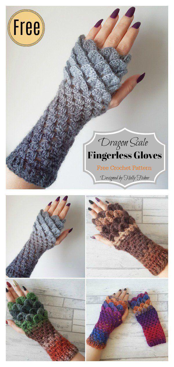 Dragon Scale Fingerless Gloves Free Crochet Pattern | Men\'s Patterns ...
