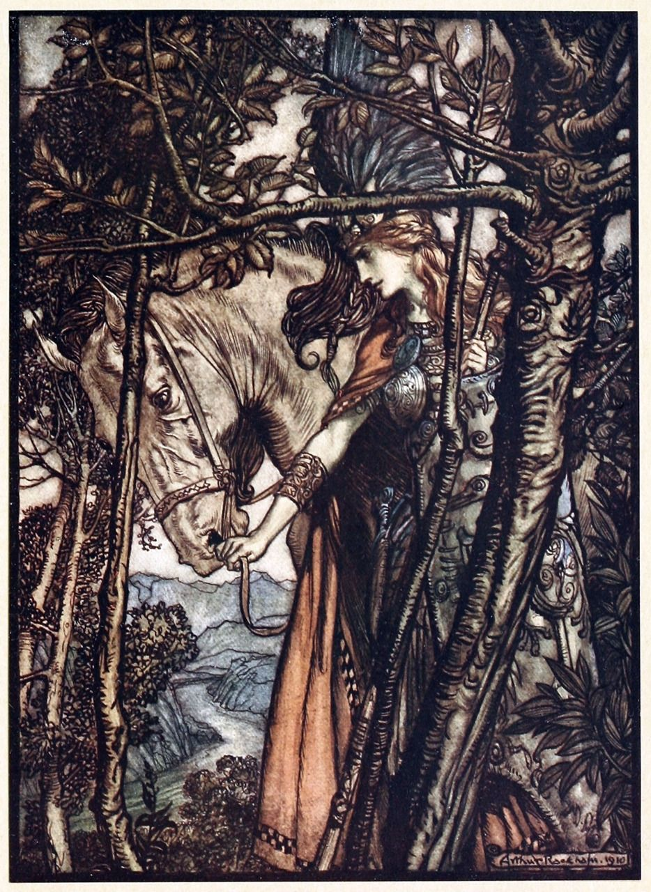 Brünnhilde slowly and silently leads her horse down the path to the cave.    Arthur Rackham, from The Rhinegold & the Valkyrie, by Richard Wagner, London, New York, 1910.