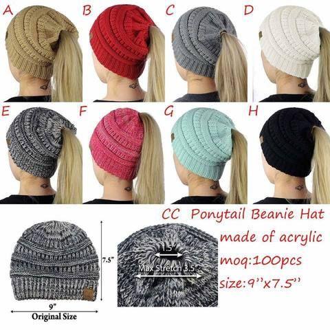 9dc8277f3be 2018 New Trendy CC Warm Winter Hat For Women Ponytail Beanie Stretch Cable  Knit Messy Bun Hats Soft Ski Cap Wholesale. Fashion Women s Girls ...