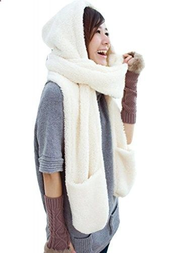 300e4fe39cb Girls Soft Faux Fur All In One Soft Hood Hats Scarf Gloves Cute Creamy  White. More description on the website.