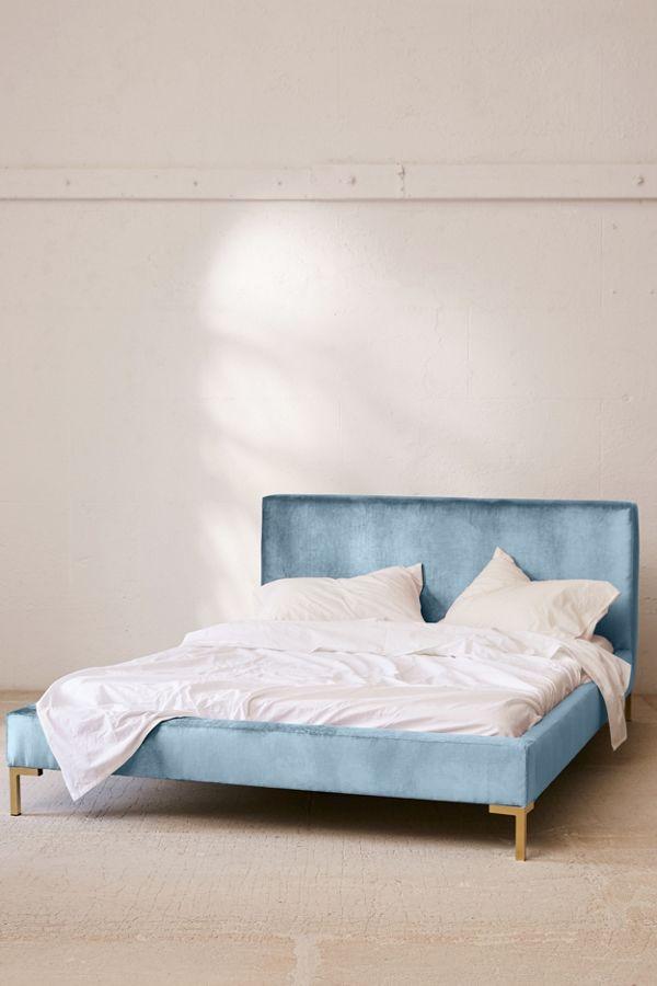 Rosalie Velvet Platform Bed In 2020 Bed Frame Headboard
