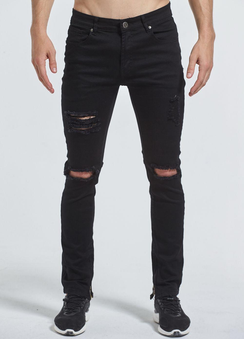 f4a3444289 Nuevos Hombres Stretch Skinny Jeans Rasgados Agujero Destruido Apenada  Urban Classic Moda Tobillo Cremallera Pantalones Vaqueros