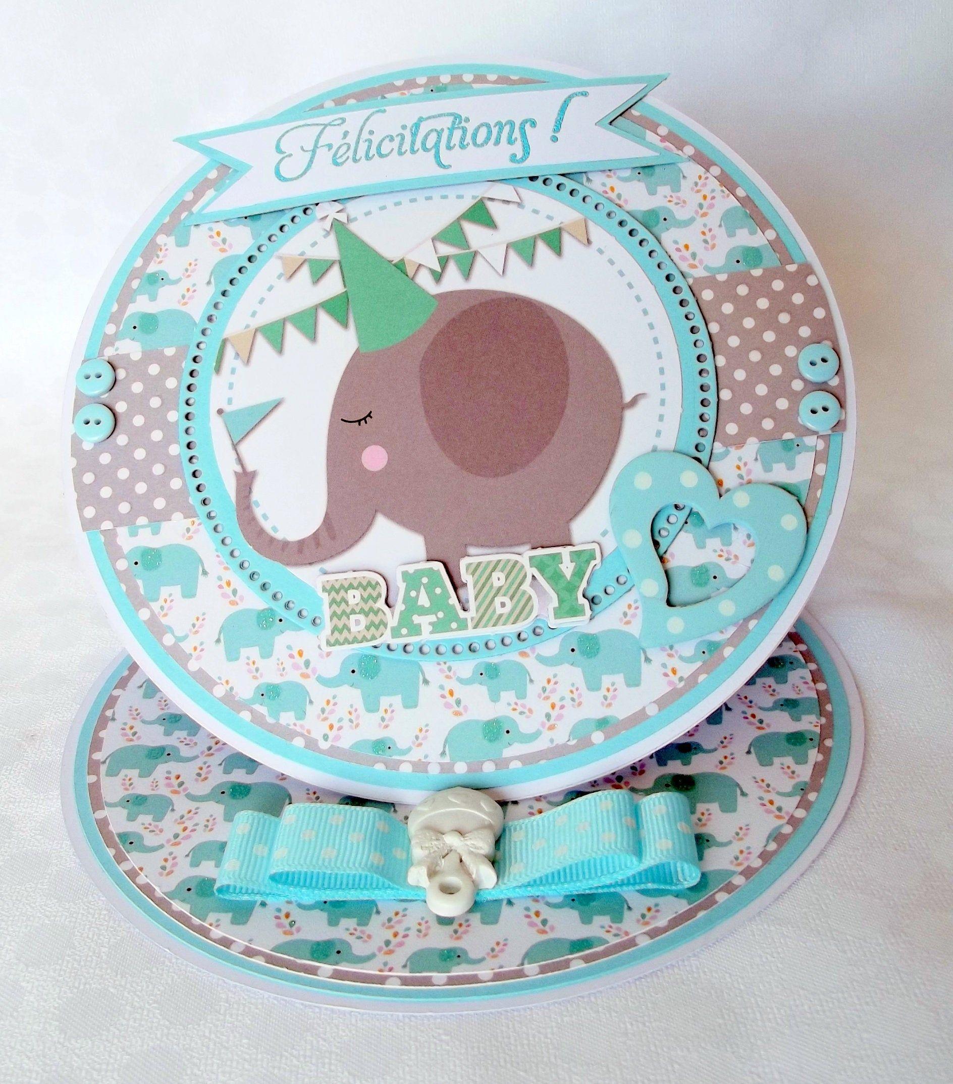 Carte de félicitations naissance garçon, thème bébé éléphant, pour nourisson // naissance