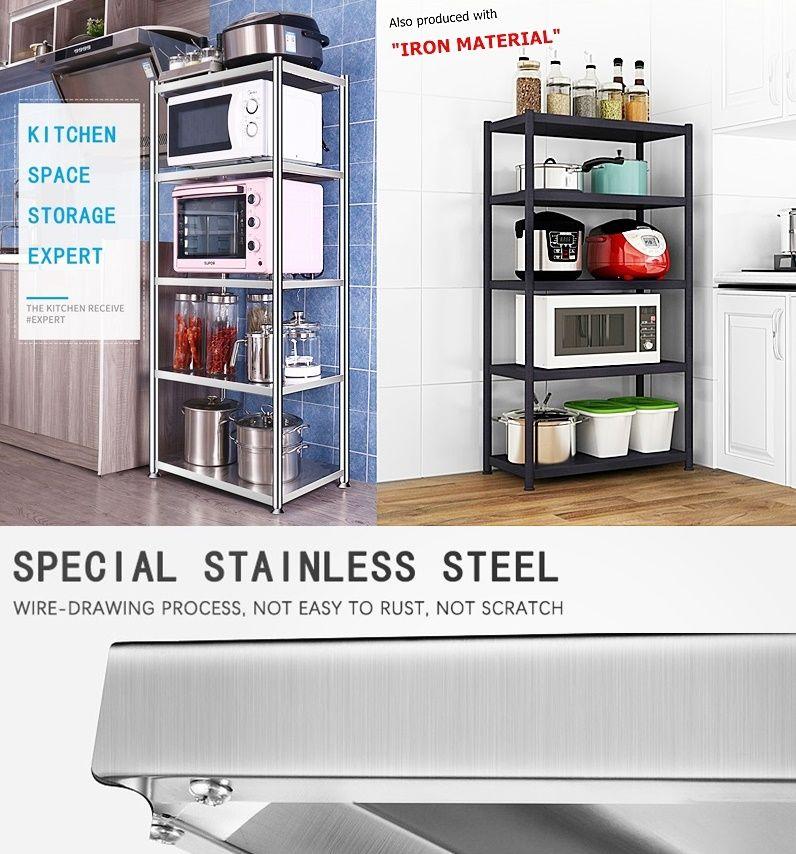 Rak Alat Dapur Microwave Stainless Dan Besi Rak Dapur Rak Penyimpanan Dapur