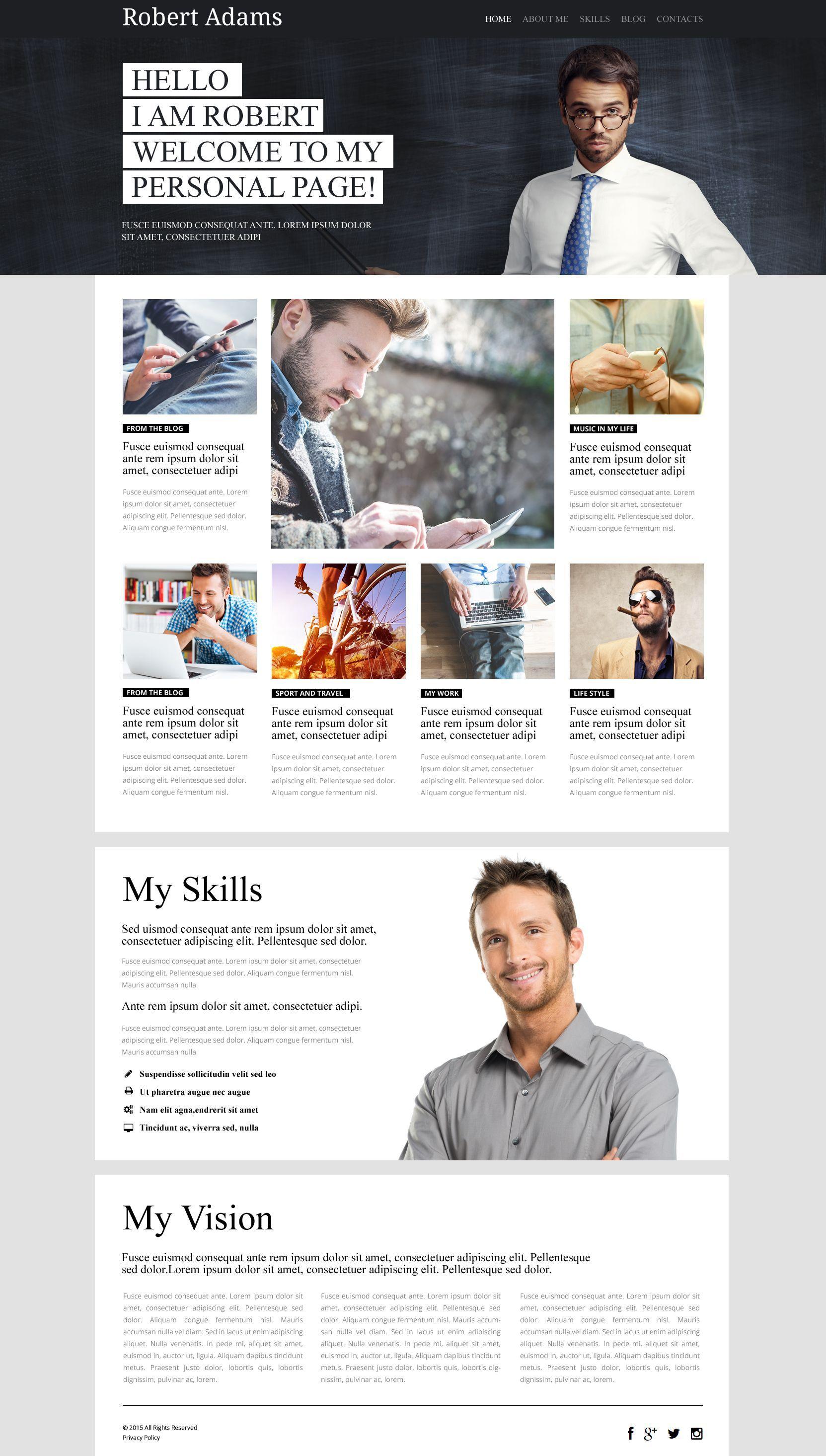 Personal Profile Wordpress Theme Wordpress Template Design