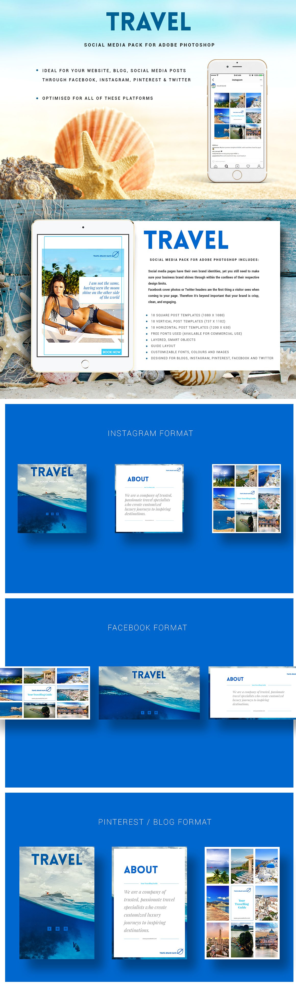travel social media pack templates psd social media templates