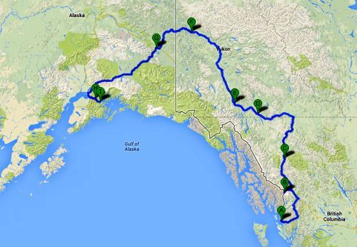YukonHo! road trip itinerary. We can't wait to drive the Alaska Highway. This map shows our route, which includes ferry rides and exploring highways beyond the Alaska Highway. What a fun travel adventure this is going to be!
