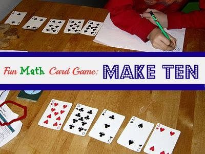 Make Ten: viisi korttia, joiden luvuista tulee yhteen- ja vähennyslaskujen avulla muodostaa tulos 10. Laskut voidaan kirjoittaa paperiin. Esim. 9+4-3=10