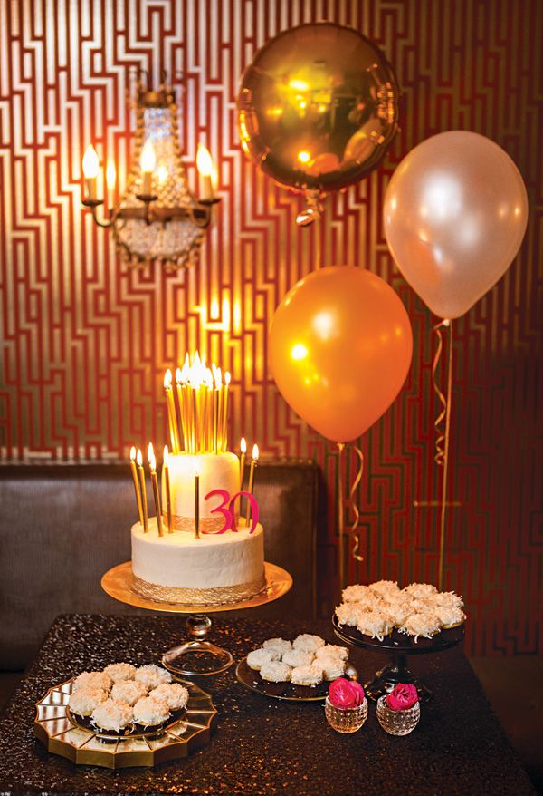 Black Sequin Linen Designer Specialty Pink Gold Bubbly 30th Birthday Party With Encore Event Design
