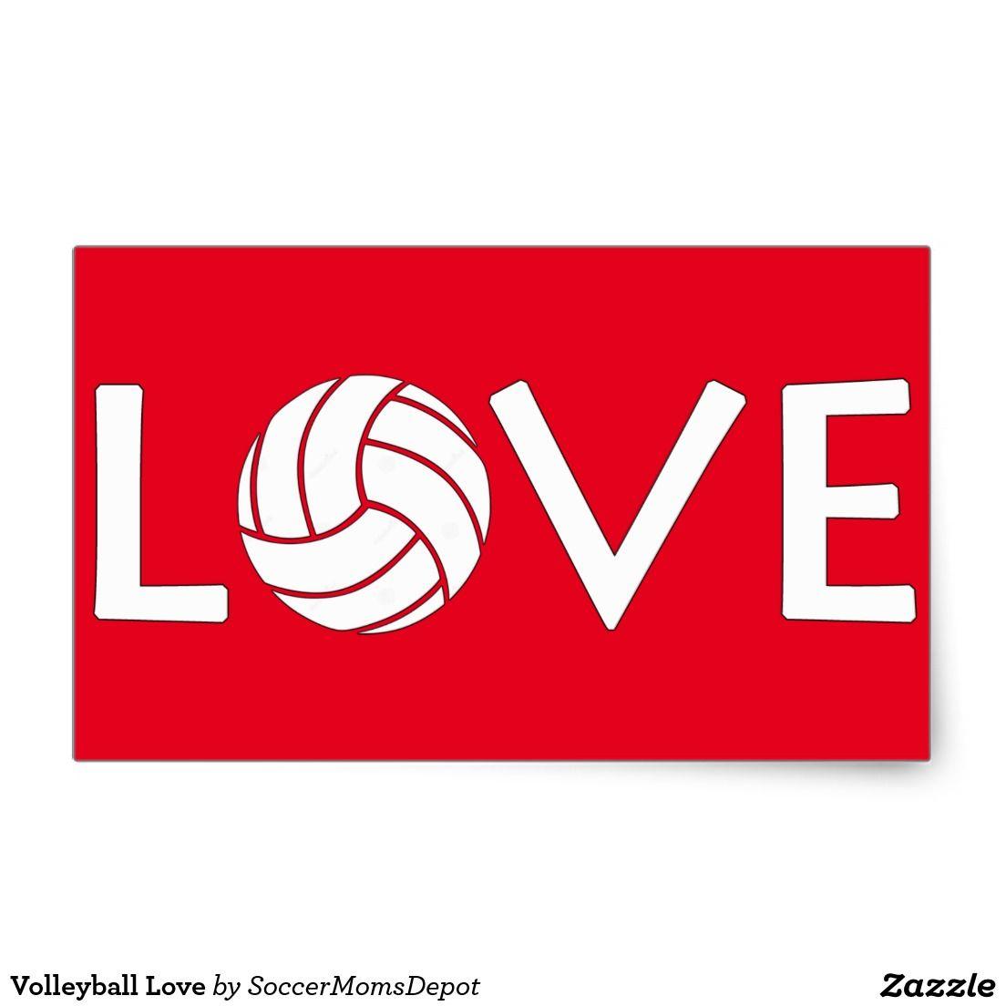 Volleyball Love Rectangular Sticker Volleyball Stickers Volleyball Stickers Pinterest Logo