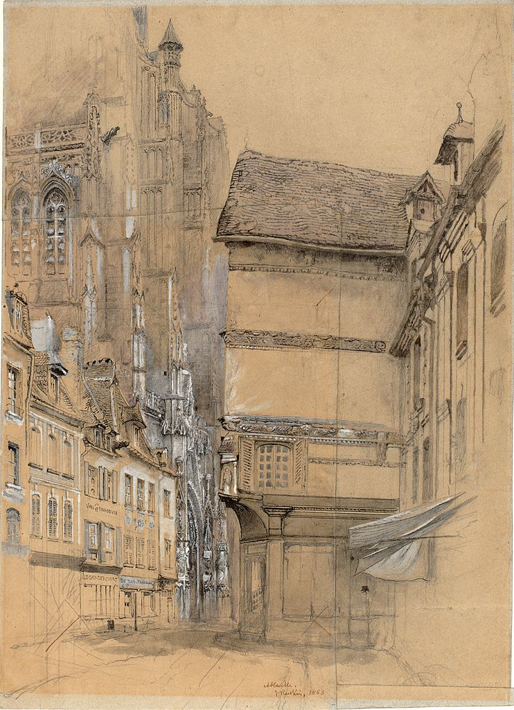 John Ruskin(British, 1819-1900)    Abbeville  1852    Ink and wash and pencil heightened with white on buff coloured paper
