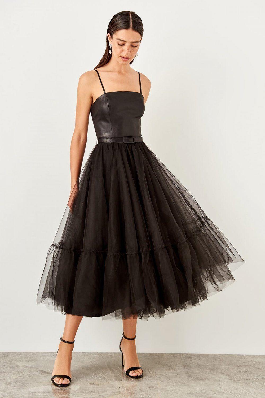 Trendyolmilla Askili Siyah Kemer Detayli Midi Abiye Elbise Elbisebul The Dress Elbise Midi Elbise