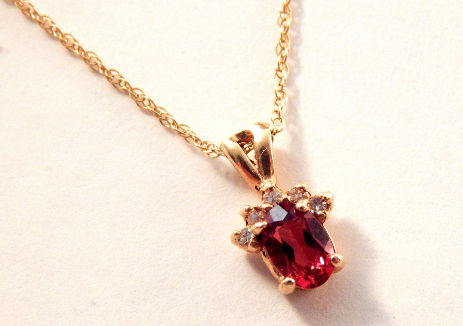"""Garnet Solitaire with Diamond Accents Women's Necklace 14k Yellow Gold Vintage Fine Jewelry January Birthstone Gift Pendant 18"""" Chain by SpringJewelryThings on Etsy"""