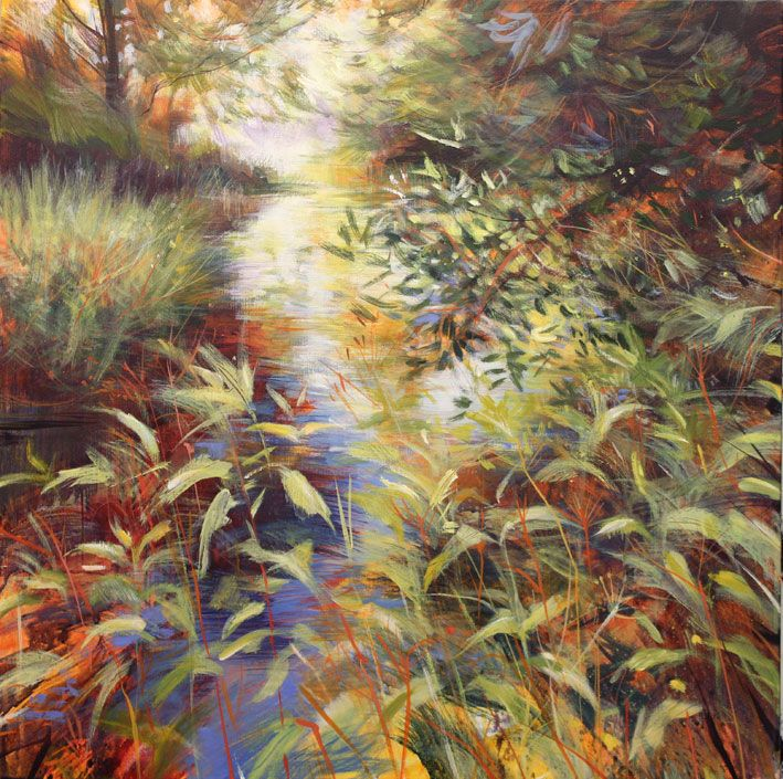 Nick Andreww - 'nettle patch shear join'. Acrylic on canvas. 66 x 66cm..