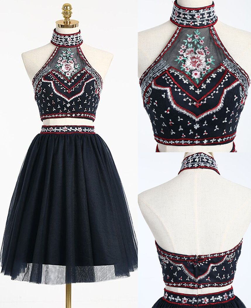 Black two piece homecoming dress with embroiderytwo piece prom