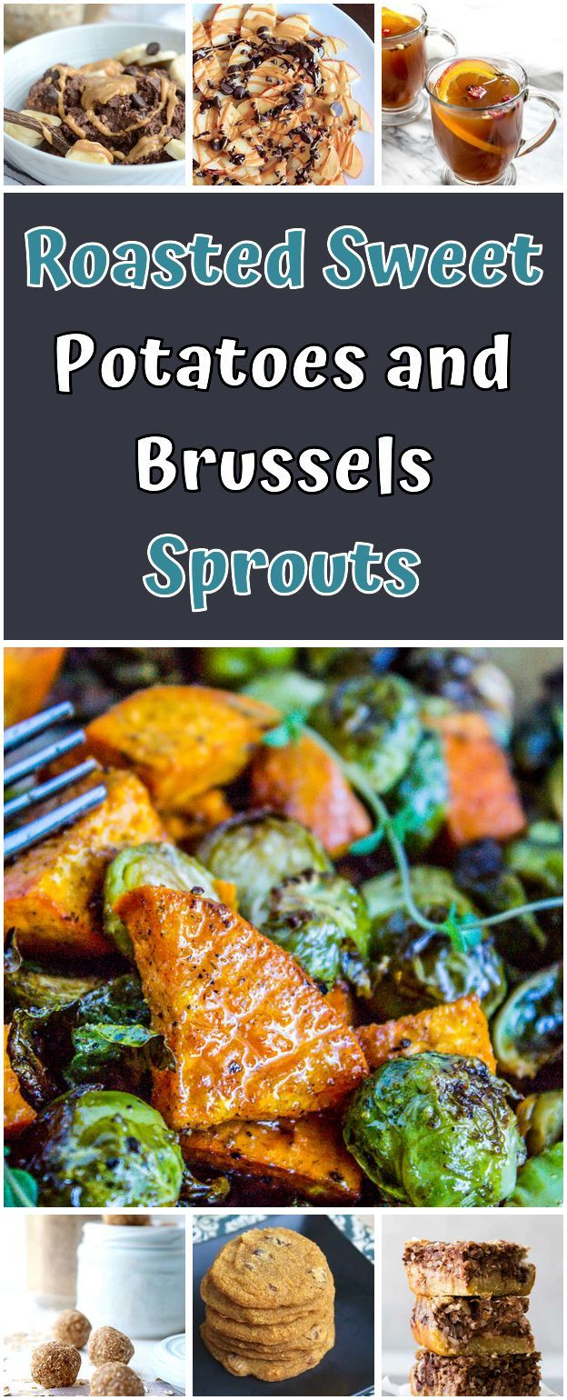 Roasted Sweet Potatoes and Brussels Sprouts. 1 pound Brussels sprouts trimmed 1 large sweet potato pound) 2 cloves garlic smashed cup olive oil 1 teaspoon cumin or teaspoon garlic salt 1 teaspoon salt pepper to taste 1 tablespoon red wine vinegar fresh thyme to garnish - Vegan Recipes #tailgate #dessert #vegetable #recipes #vegan #smashedbrusselsprouts Roasted Sweet Potatoes and Brussels Sprouts. 1 pound Brussels sprouts trimmed 1 large sweet potato pound) 2 cloves garlic smashed cup olive oil 1 #smashedbrusselsprouts