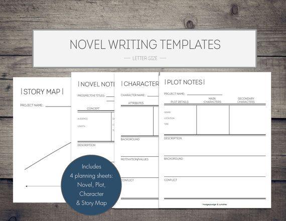 novel writing printables novel template writing organization