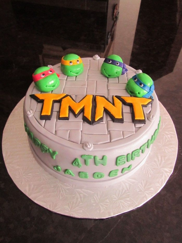 Beautiful Light White Teenage Mutant Ninja Turtles Birthday Cake