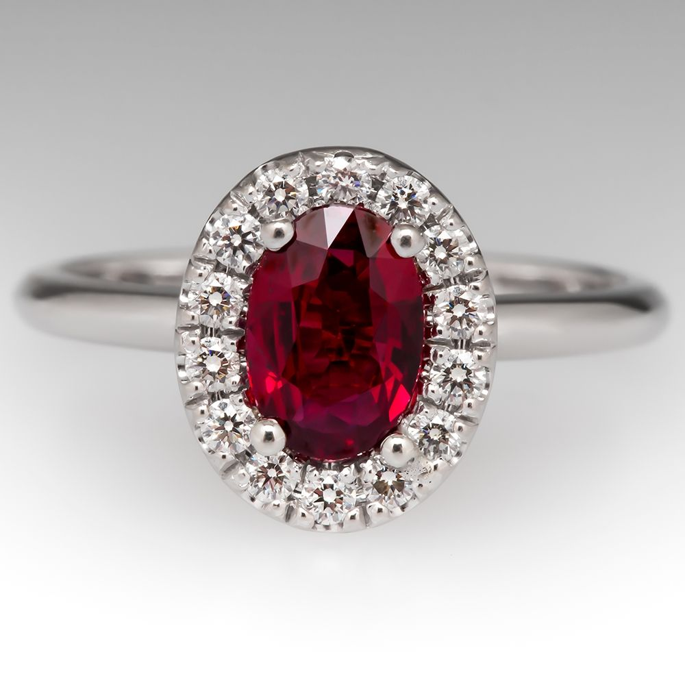 Vivid Red Ruby Engagement Ring with Diamond Halo K Gold Dainty