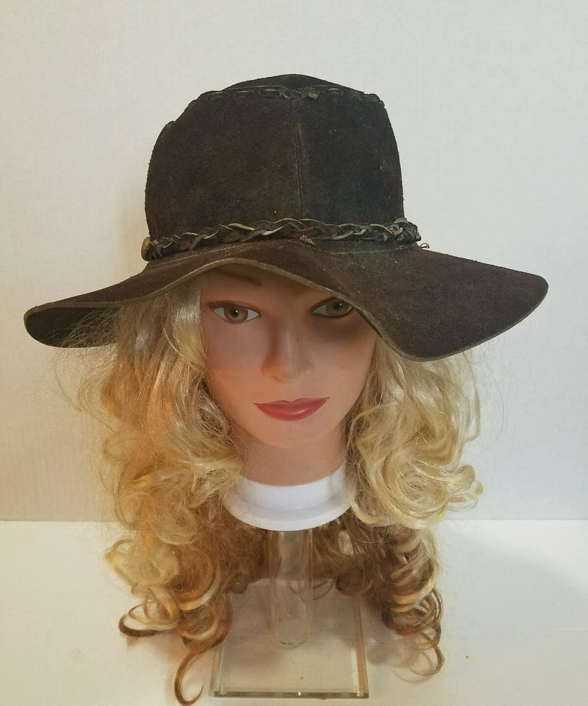 9d862315a89 VTG Brown BOHO 70 s SUEDE Leather HIPPIE HAT WOODSTOCK - Floppy Braided  Tassel  Unbranded  CowboyWesternHippie