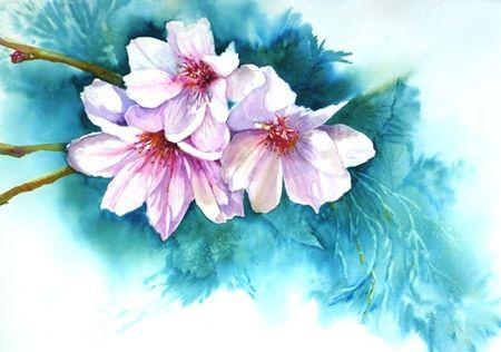 Cerisier Du Japon Painting 50x70 Cm C 2012 Par Marie Jeanne