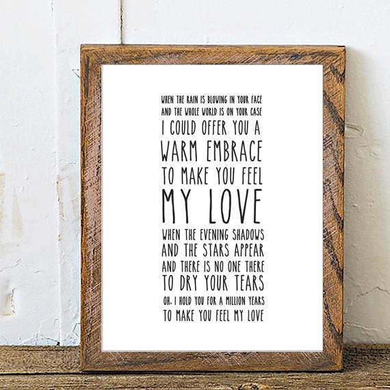 Adele Make You Feel My Love Song Lyrics Print Mothers Day