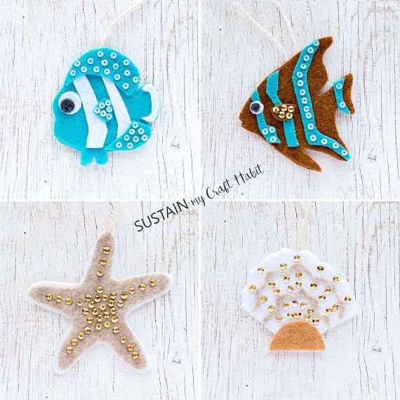 10 Ocean Life PATTERN felt ornaments, PDF no sew ornament, gift ...