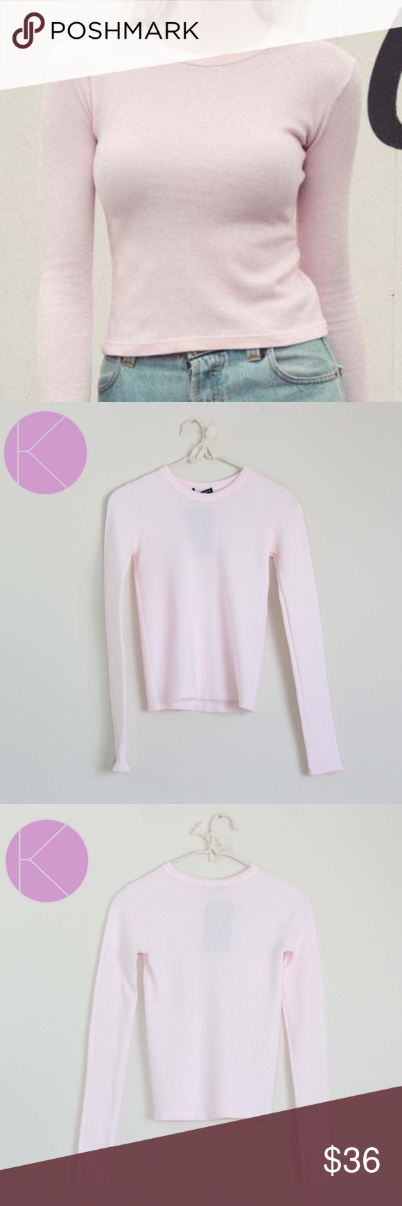2f0b267d8cd4 NWT Brandy Melville Toya Thermal Long sleeve Top Brand new with tags.  Brandy Melville Toya thermal top. Light pink color. Crop top. Long Sleeve.  Crew neck.