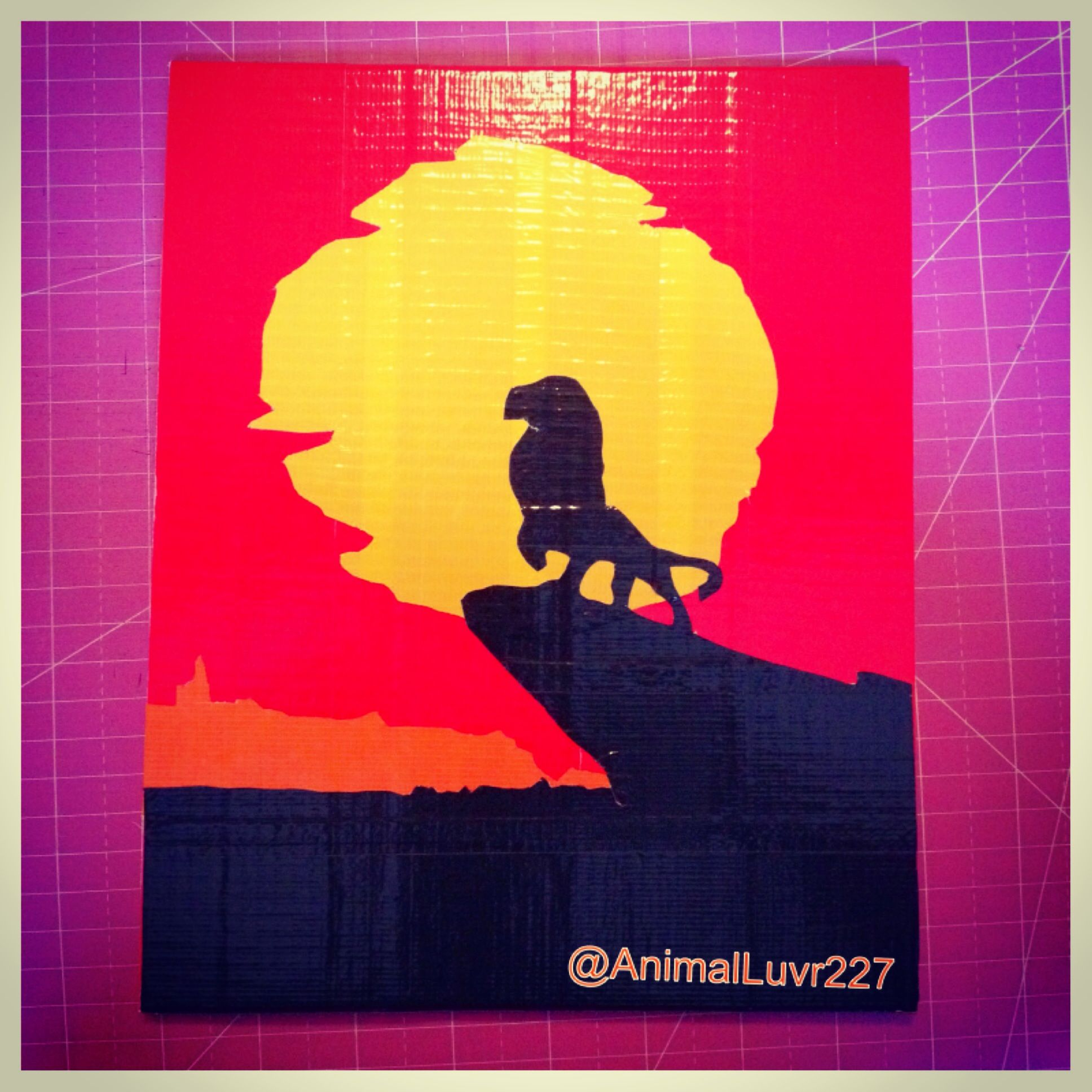 8X10 Duct Tape Painting Of Simba From Disneys