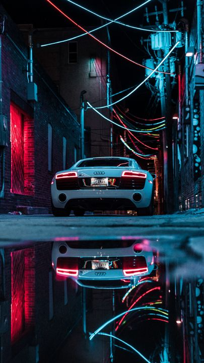 The latest iPhone11, iPhone11 Pro, iPhone 11 Pro Max mobile phone HD wallpapers free download, audi r8, audi, car, sports car, white, neon – Free Wallpaper   Download Free Wallpapers