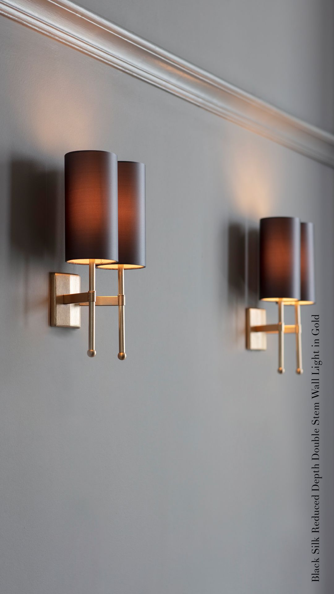 Gold Double Stem Wall Light With Black Silk Shades Wall Lights