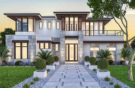 Plan 86033bw Spacious Upscale Contemporary With Multiple Second Floor Balconies Prairie Style Houses House Designs Exterior House With Balcony