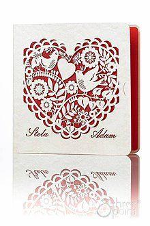 Papiernictvo - Ľudové srdce - svadobné oznámenia - 5291092_