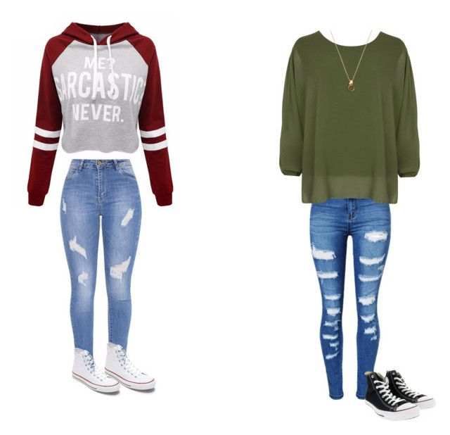 """school"" by maliyah-wbms on Polyvore featuring WithChic, WearAll and Converse"