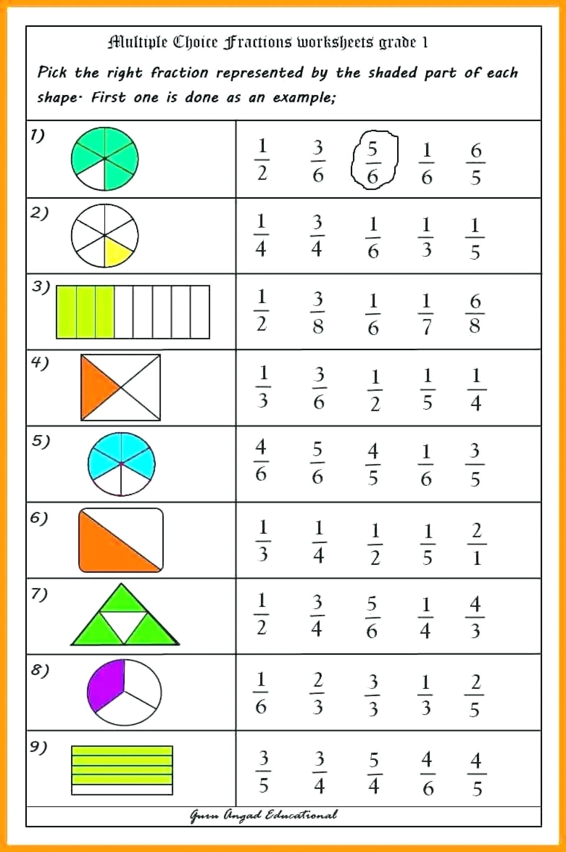 Worksheet For Grade 5 Math Fractions